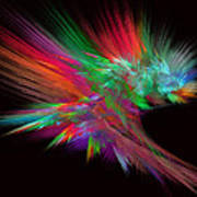 Feathery Bouquet On Black - Abstract Art Poster