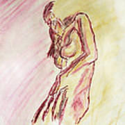 Female Nude Figure Sketch In Watercolor Purple Magenta And Yellow With A Warm Sunlit Background Poster
