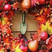 Festive Autumn Wreath Poster