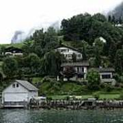 Few Houses On The Slope Of Mountain Next To Lake Lucerne In Switzerland Poster