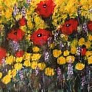 Field Of Flowers With Poppies Poster