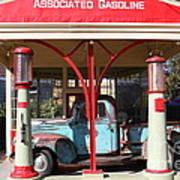 Filling Up The Old Ford Jalopy At The Associated Gasoline Station . Nostalgia . 7d12883 Poster
