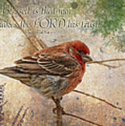 Finch Greeting Card With Verse Poster