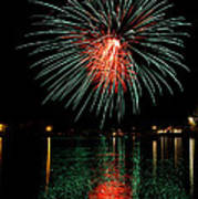 Fireworks Of Green And Red Poster