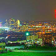 Fireworks Over The City Skyline Poster