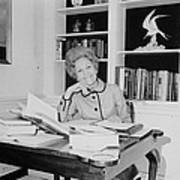 First Lady Pat Nixon Working At A Small Poster