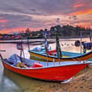 Fisherman Boats Poster
