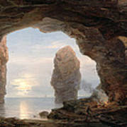 Fisherman In A Grotto Helgoland Poster by Christian Ernst Bernhard Morgenstern