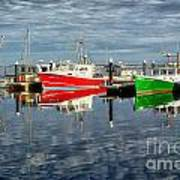 Fishing Boat Reflections At Macmillan Pier In Provincetown Cape  Poster