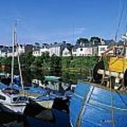 Fishing Boats At A Harbor, Roundstone Poster