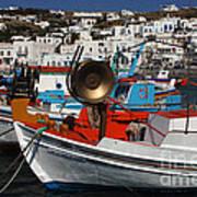 Fishing Boats Mykonos Poster