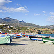Fishing Boats On A Beach In Spain Poster
