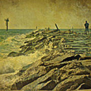 Fishing The Jetty - Island Beach State Park   Nj Poster