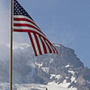 Flag And The Mountain Poster