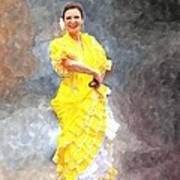 Flamenco Dancer In Yellow Poster