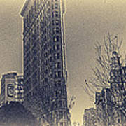 Flat Iron In Sepia Poster