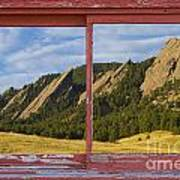 Flatirons Boulder Colorado Red Barn Picture Window Frame Photos  Poster