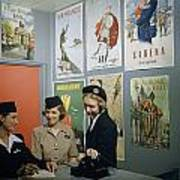 Flight Attendants Stand And Talk Poster by B. Anthony Stewart