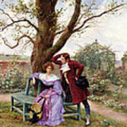 Flirtation Poster by Georges Jules Auguste Cain