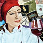 Flo Enjoys A Glass Of Wine Poster