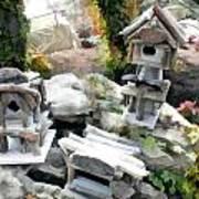 Flock Of Rustic Birdhouses Poster