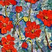 Floral Art - Red Poppies Poster
