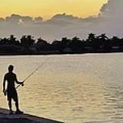 Florida Fishing At Sunset Poster