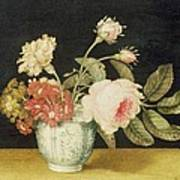 Flowers In A Delft Jar  Poster