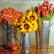 Flowers In Cans Poster