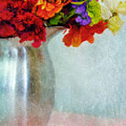 Flowers In Metal Pitcher Poster