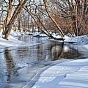 Flowing Water In The Winter Poster