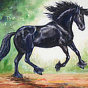 Flying Friesian Poster