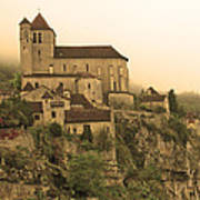 Fog Descending On St Cirq Lapopie In Sepia Poster