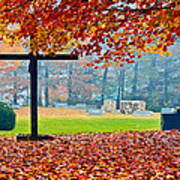 Foggy Autumn Cemetery Poster