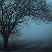 Foggy Country Road Poster