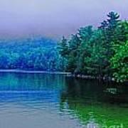 Foggy Mountain Pond Poster