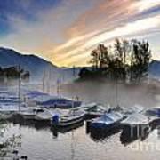 Foggy Port In Sunrise Poster