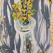 Forsythia In Old Clear Vase Mary Carol Poster