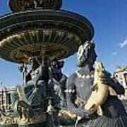 Fountain At Place De La Concorde. Paris. France Poster by Bernard Jaubert