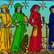 Four Temperaments, Medieval Woodcut Poster