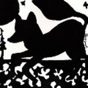 Fox At Night In Clover Patch Poster