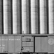Freight Car And Grain Elevators Poster