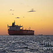 Freight Tanker At Sea - Sunset In Port Aransas Poster