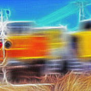 Freight Train At Railroad Crossing 2 Poster by Steve Ohlsen