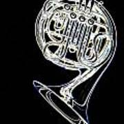 French Horn Color Photo Drawing Poster