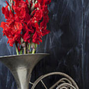 French Horn With Gladiolus Poster