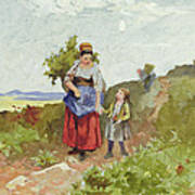 French Peasants On A Path Poster by Daniel Ridgway Knight
