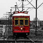 French Quarter French Market Cable Car New Orleans Color Splash Black And White With Watercolor Poster
