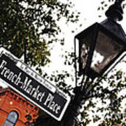 French Quarter French Market Street Sign New Orleans Diffuse Glow Digital Art Poster