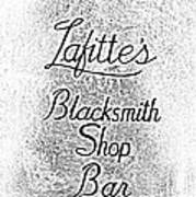 French Quarter Illuminated Lafittes Blacksmith Shop Bar Sign New Orleans Photocopy Digital Art Poster